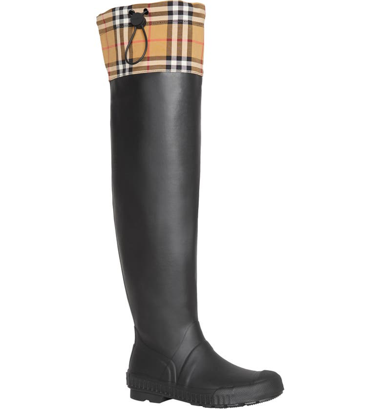 BURBERRY Freddie Tall Waterproof Rain Boot, Main, color, BLACK