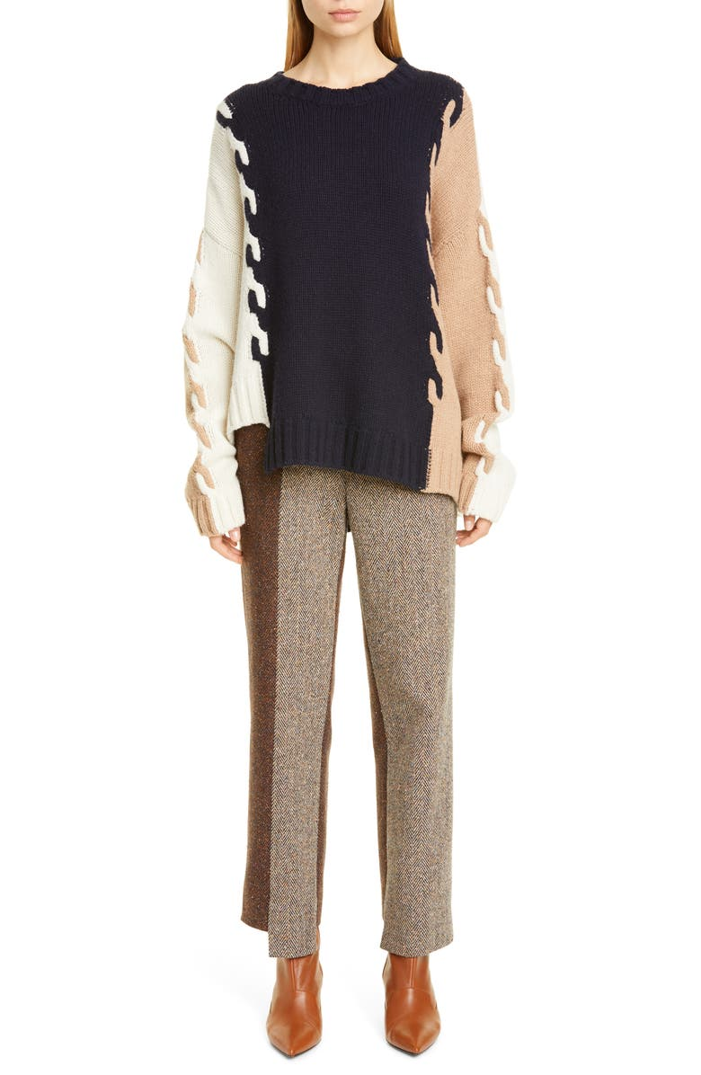 MONSE Asymmetrical Cable Knit Wool Sweater, Main, color, 471