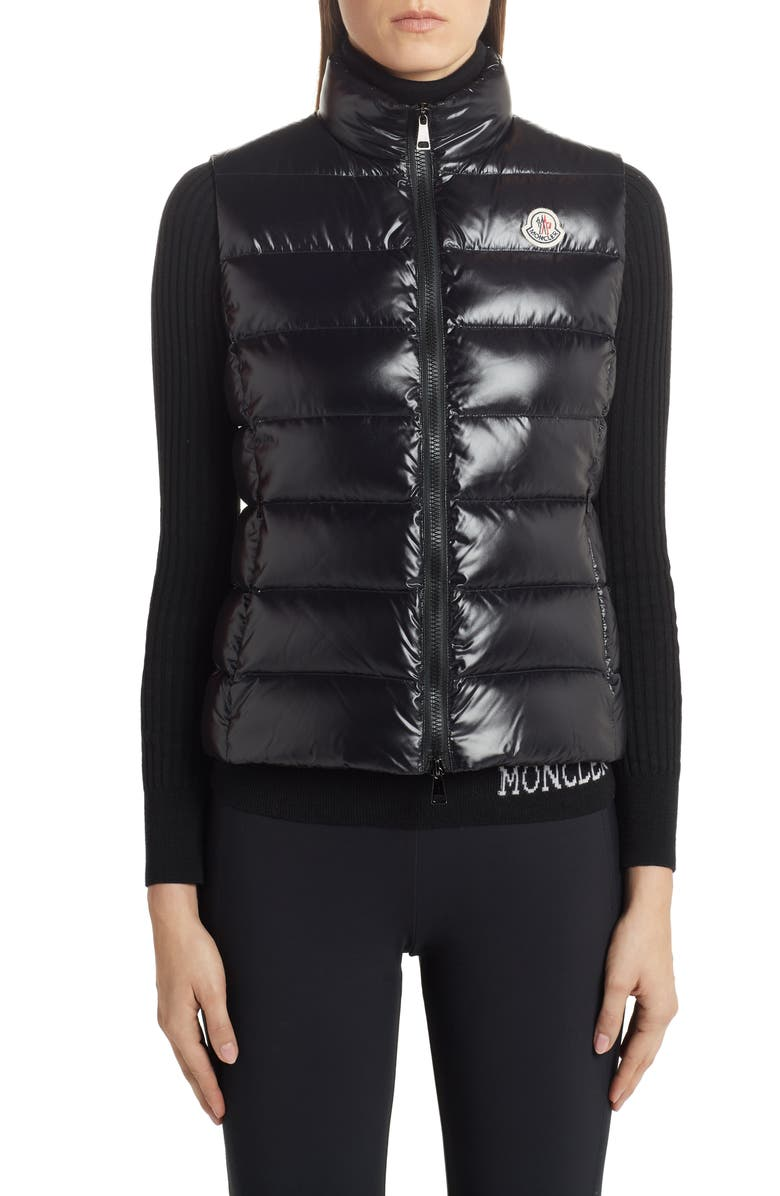 MONCLER Ghany Short Shiny Nylon Down Vest, Main, color, BLACK