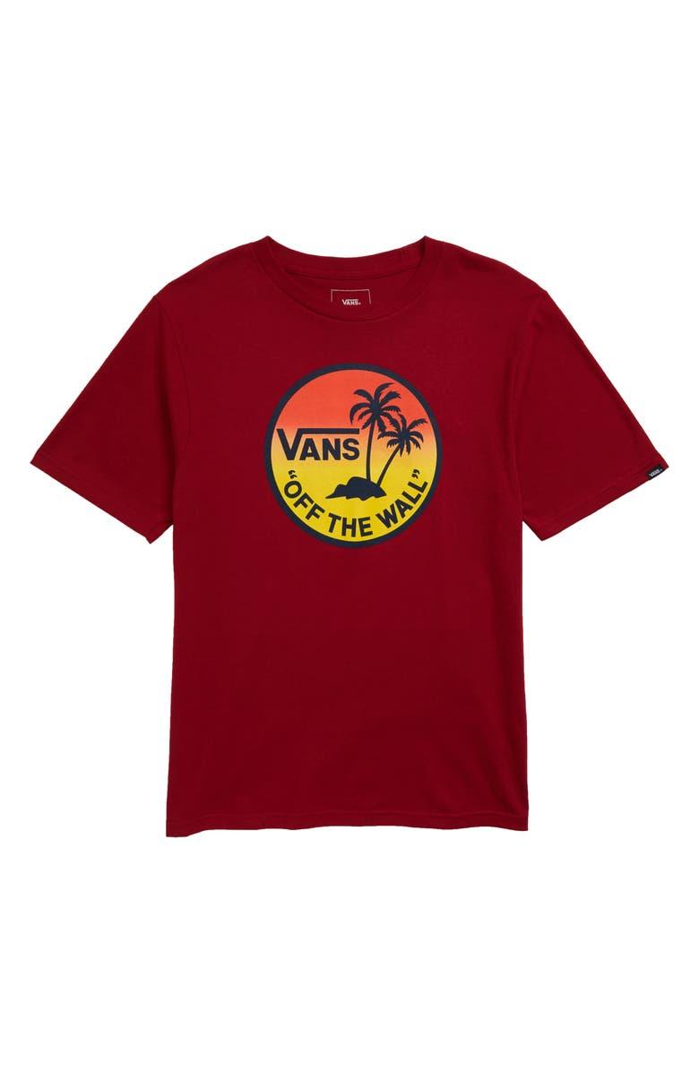 VANS Dual Palm Gradient Graphic T-Shirt, Main, color, BIKING RED