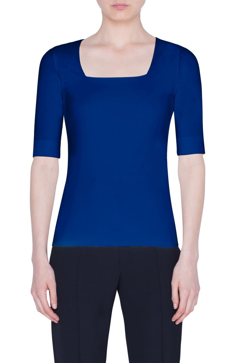 AKRIS PUNTO Square Neck Jersey Top, Main, color, 400
