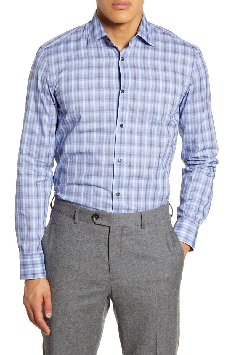 BOSS Slim Fit Plaid Dress Shirt, Main, color, MEDIUM BLUE