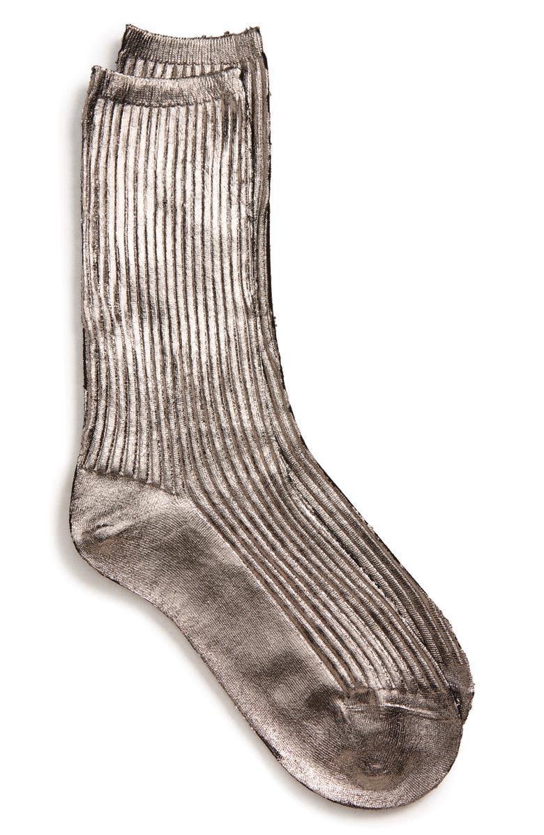 ACNE STUDIOS Tabi Metallic Socks, Main, color, 020