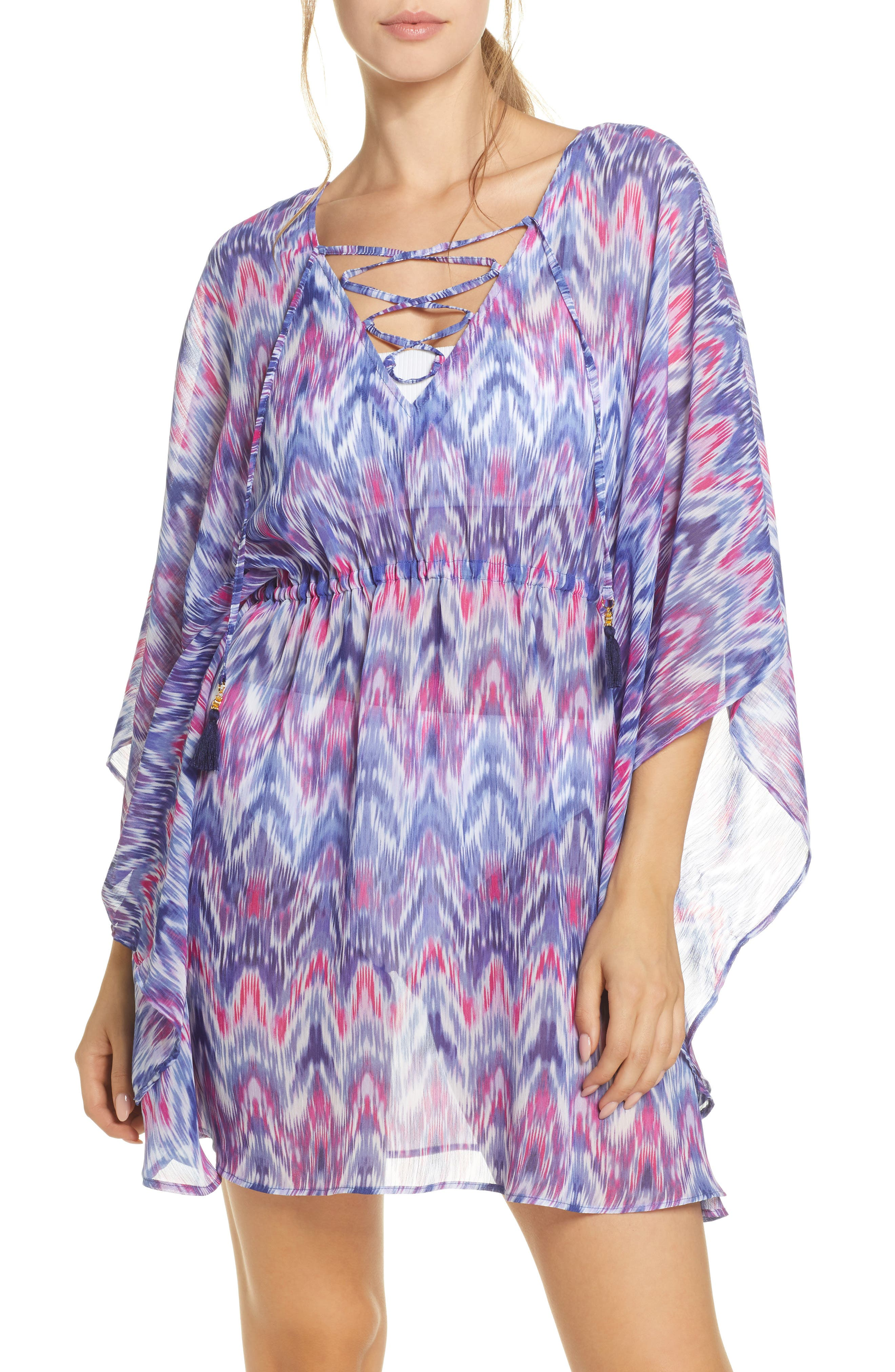 Image of Tommy Bahama Mirage Lace Front Tie Dye Cover-Up Tunic
