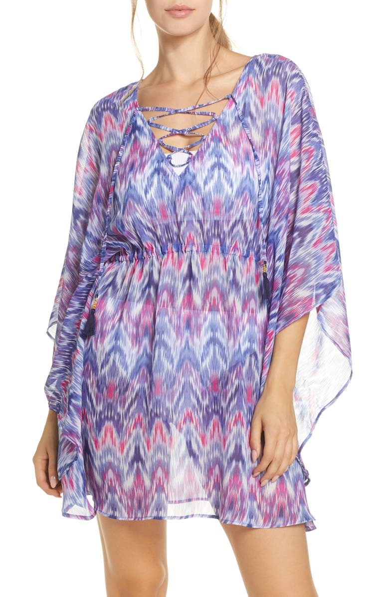 TOMMY BAHAMA Mirage Lace Front Tie Dye Cover-Up Tunic, Main, color, 400