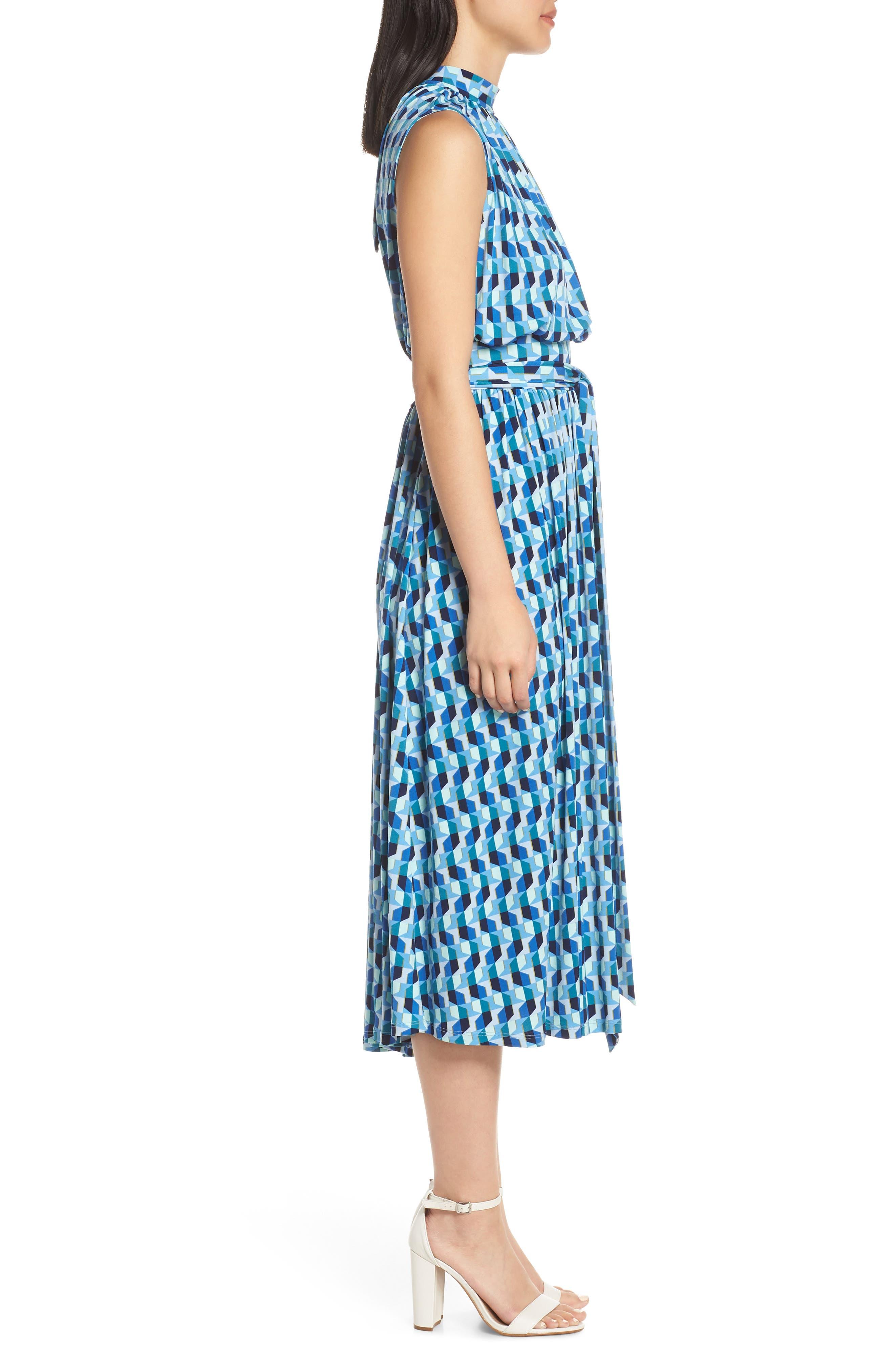 ,                             Mindy Shirred Midi Dress,                             Alternate thumbnail 4, color,                             AZURE BLUE
