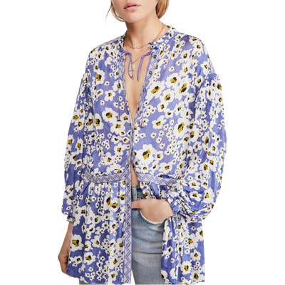 Free People Love Letter Floral Print Tunic, Blue