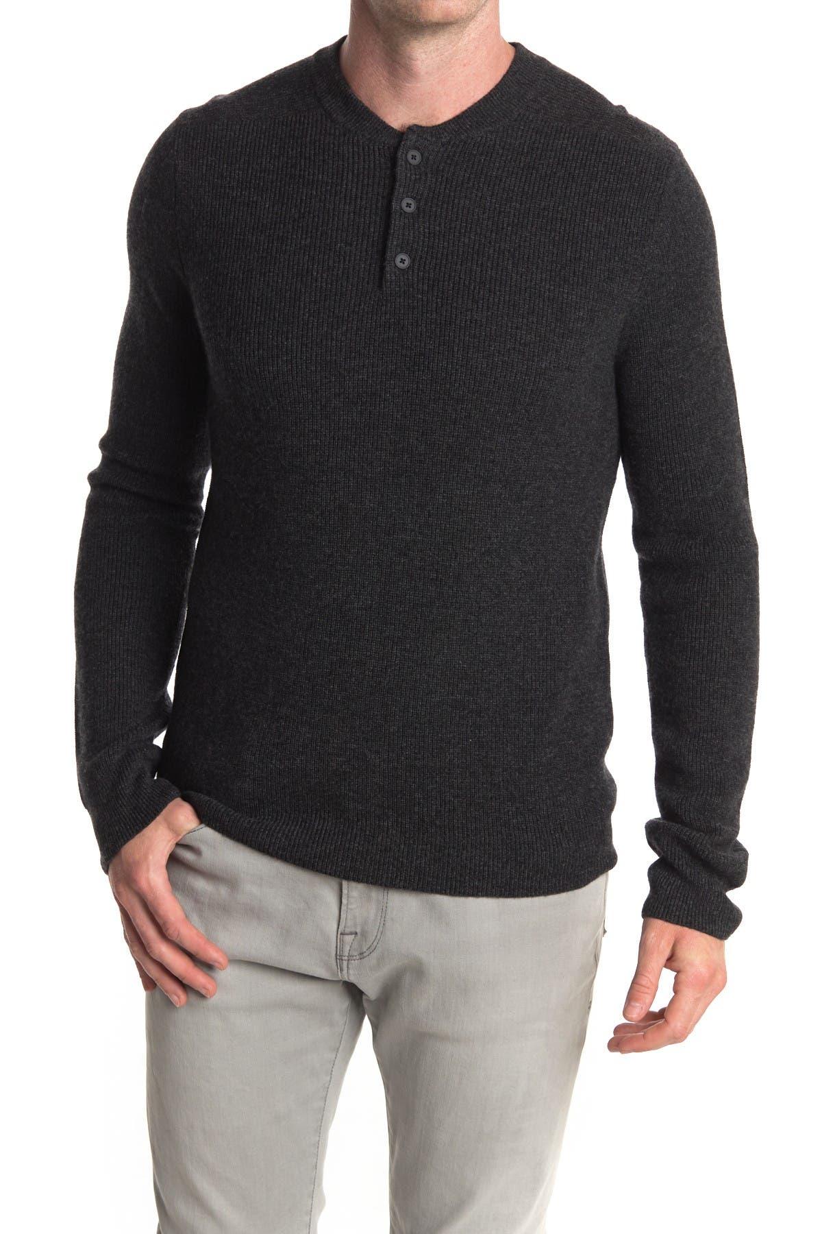 Image of Stewart of Scotland Wool Cashmere Blend Long Sleeve Henley