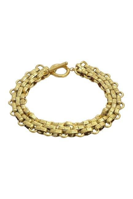 Image of Savvy Cie 18K Gold Plated Panther Link Toggle Bracelet