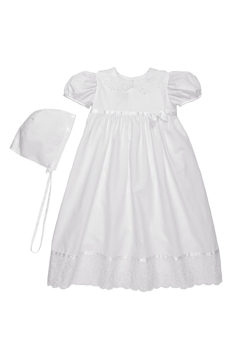 LITTLE THINGS MEAN A LOT Lace Collar Christening Gown and Bonnet Set, Main, color, WHITE