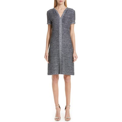 St. John Collection Camille Knit A-Line Dress, Blue