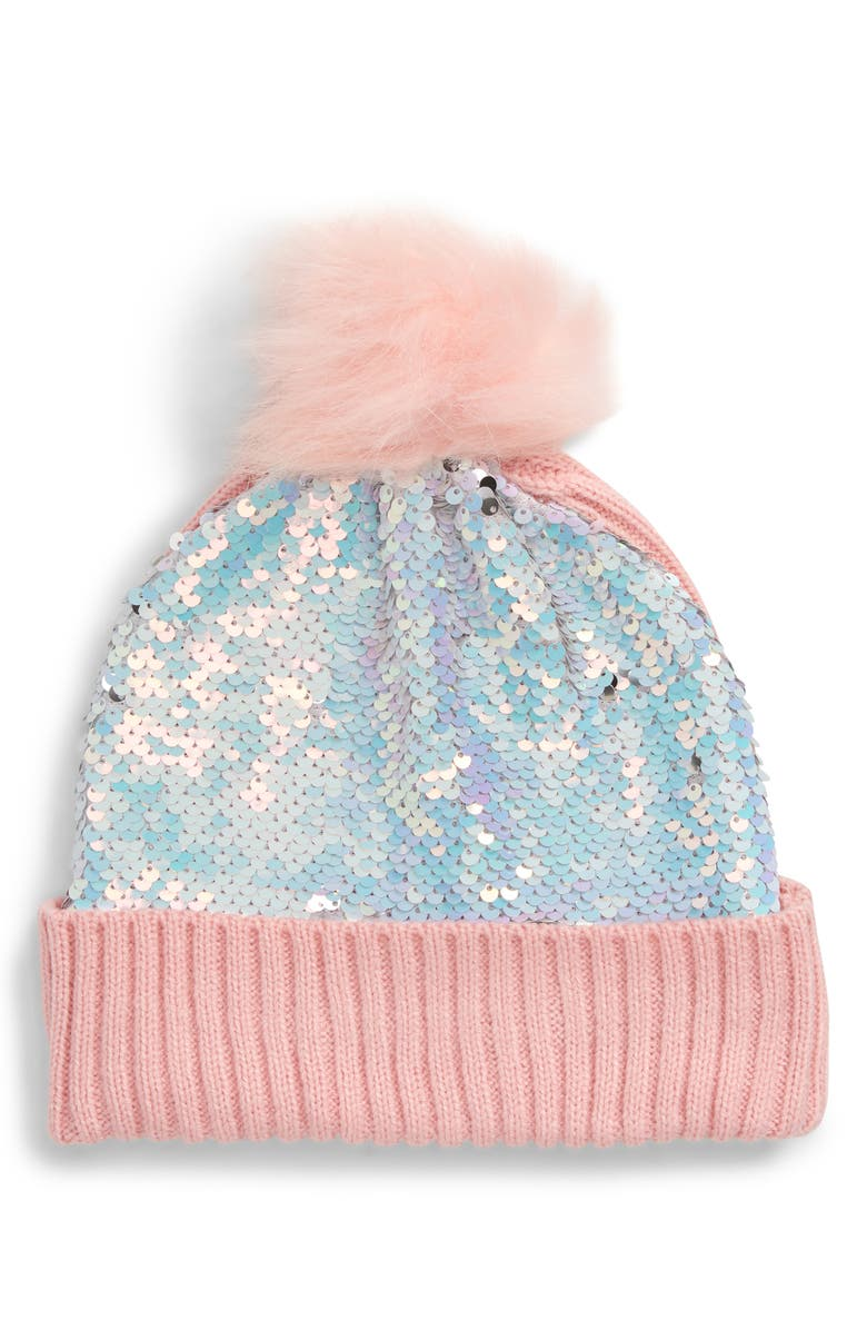 CAPELLI NEW YORK Flip Sequin Beanie with Faux Fur Pom, Main, color, 659