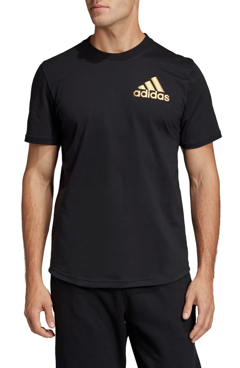 ADIDAS Stadium ID Perforated T-Shirt, Main, color, BLACK