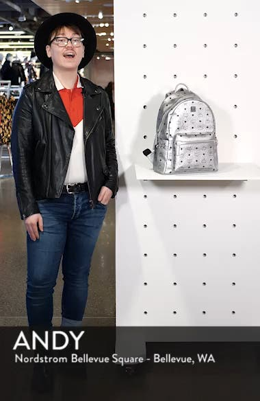 Small Stark Side Stud Metallic Coated Canvas Backpack, sales video thumbnail