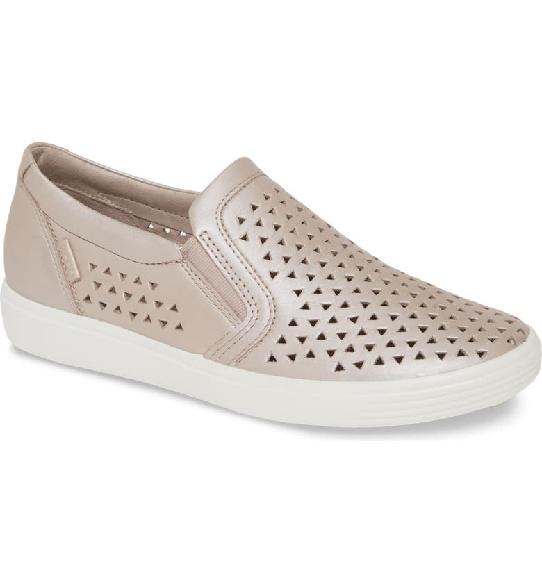 ECCO Soft 7 Laser Cut Slip-On Sneaker, Main, color, GREY ROSE METALLIC LEATHER