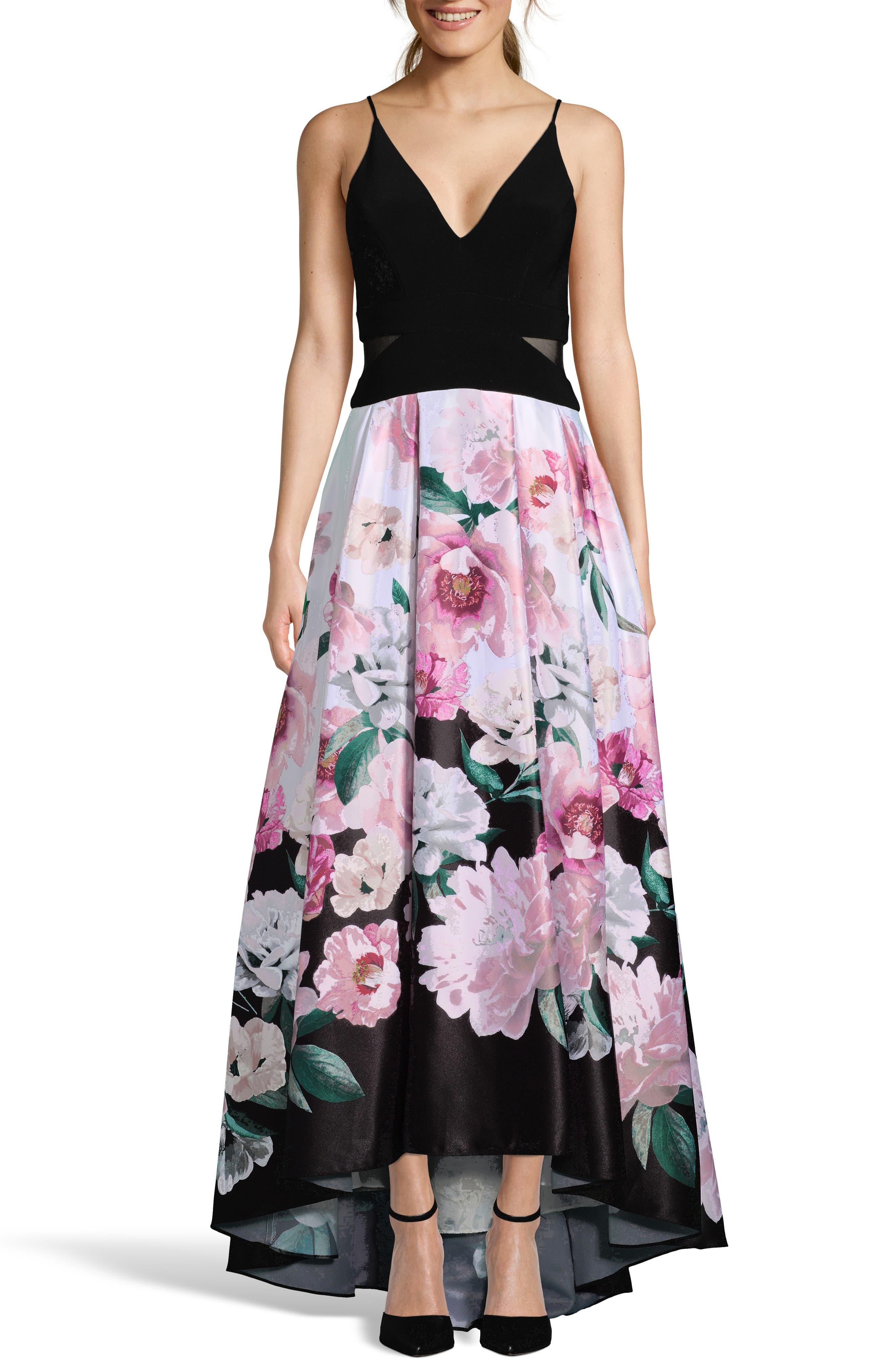 Xscape High/low Evening Dress, Black