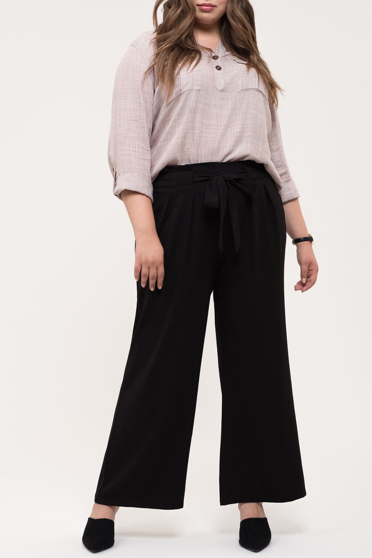 Image of Perch by Blu Pepper Tie Waist Paperbag Pants