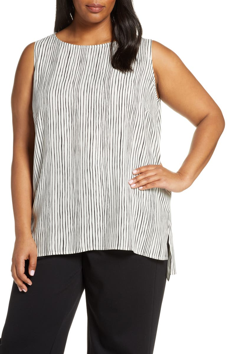 EILEEN FISHER Stripe High/Low Silk Shell, Main, color, 100