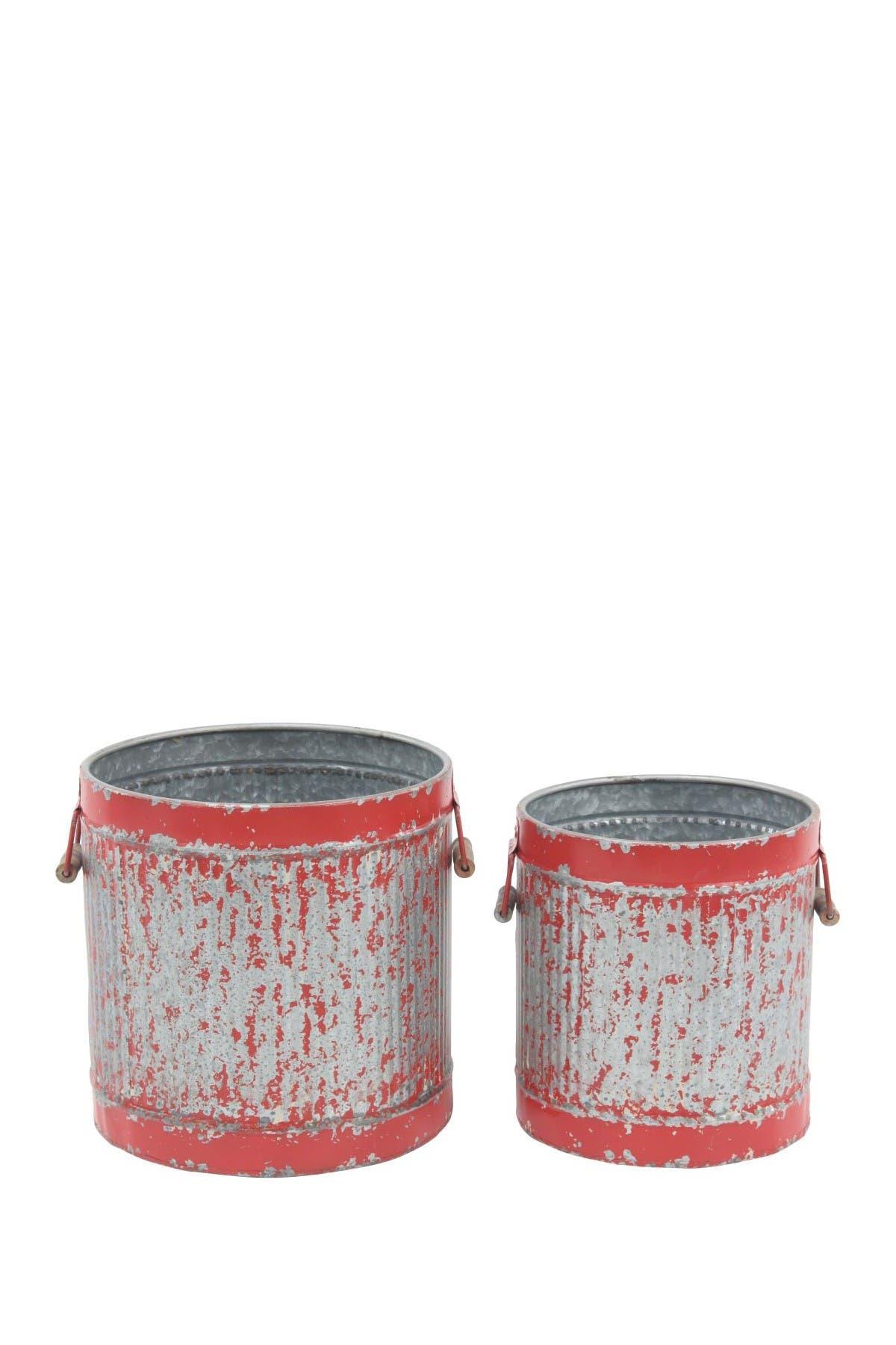 Image of Willow Row Red Farmhouse Distress Round Iron Planter - Set of 2