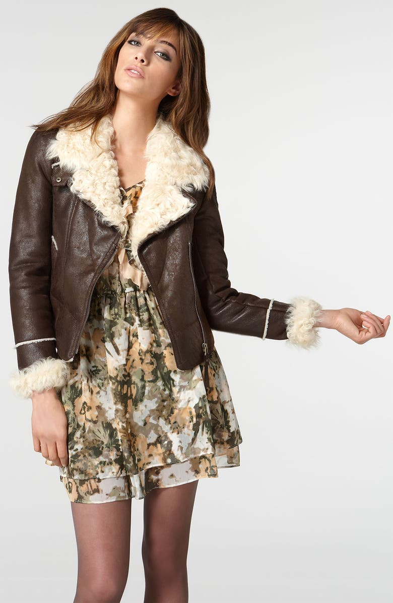 MCGINN 'Dree' Faux Leather Jacket with Genuine Shearling Cuffs & Collar, Main, color, 200