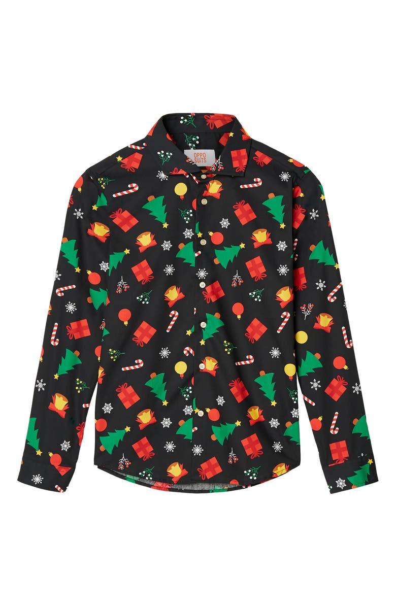 OPPOSUITS Christmas Icons Button-Up Shirt, Main, color, BLACK