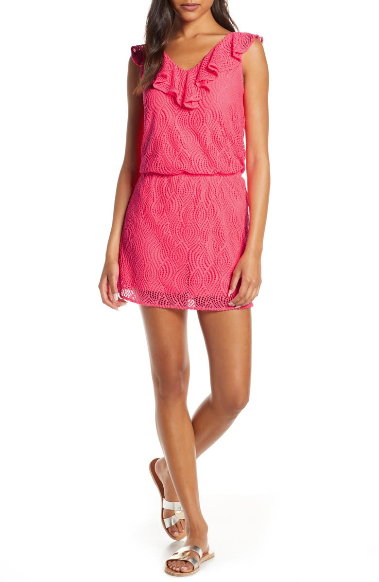 LILLY PULITZER<SUP>®</SUP> Alessa Lace Skort Romper, Main, color, CRAB CLAW CORAL FLOWING LEAF
