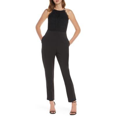 Adelyn Raw Alessia Lace Mix Sleeveless Jumpsuit, Black
