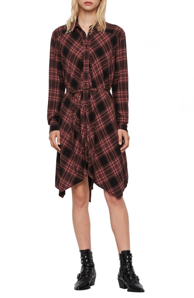 ALLSAINTS Tala Check Long Sleeve Handkerchief Hem Dress, Main, color, RED