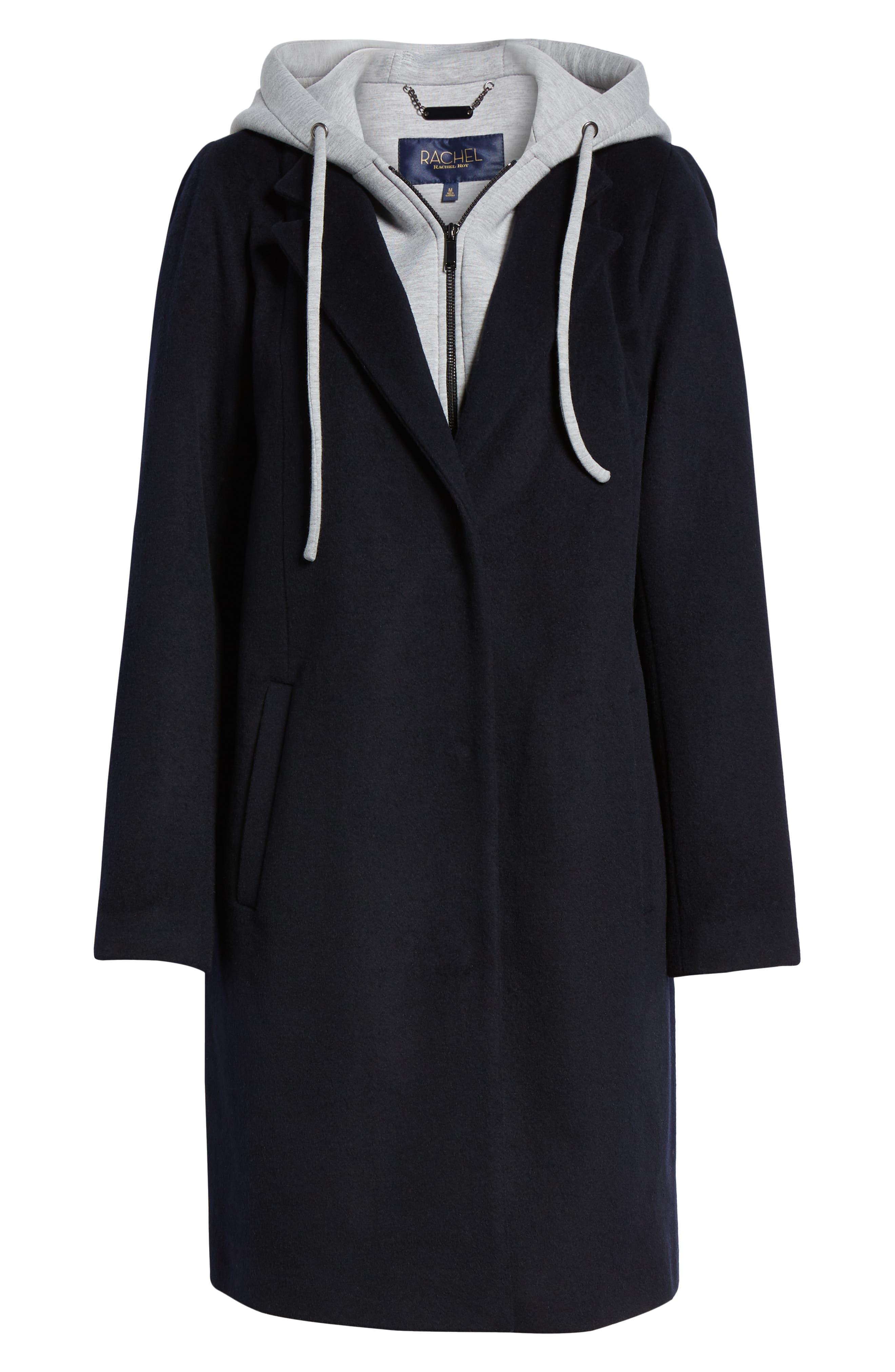 ,                             Hoodie Inset Wool Blend Coat,                             Alternate thumbnail 6, color,                             410