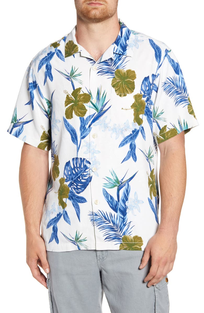 TOMMY BAHAMA Rialto Flora Classic Fit Short Sleeve Button-Up Silk Camp Shirt, Main, color, MARBLE CREAM