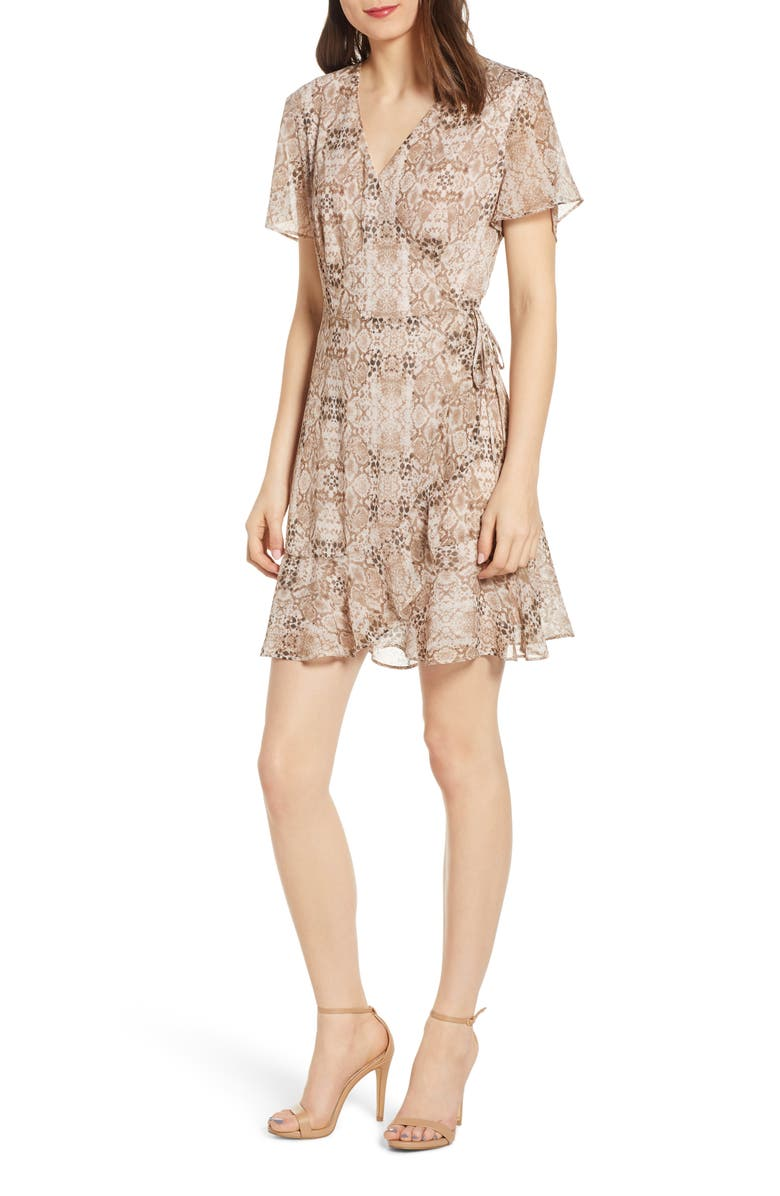 ALL IN FAVOR Isabella Wrap Minidress, Main, color, NEUTRAL SNAKE PRINT