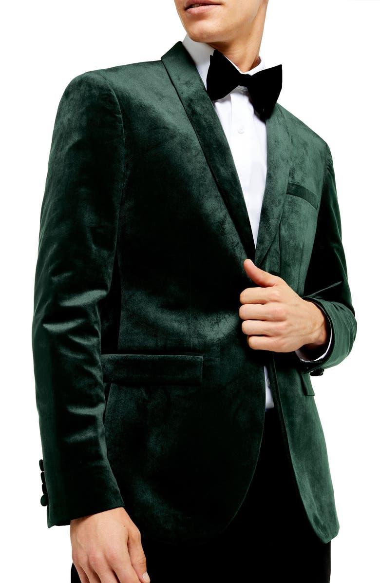 TOPMAN Velvet Skinny Suit Jacket, Main, color, 300