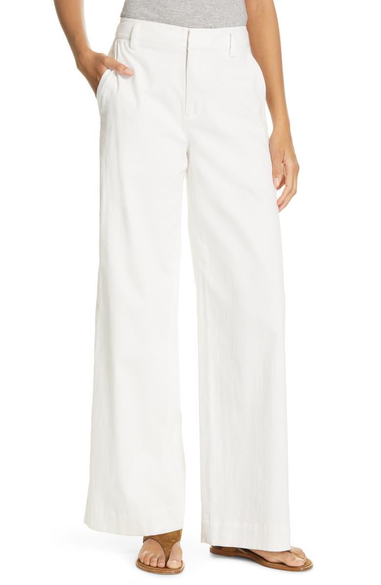 VINCE Stretch Cotton & Linen Wide Leg Trousers, Main, color, OFF WHITE