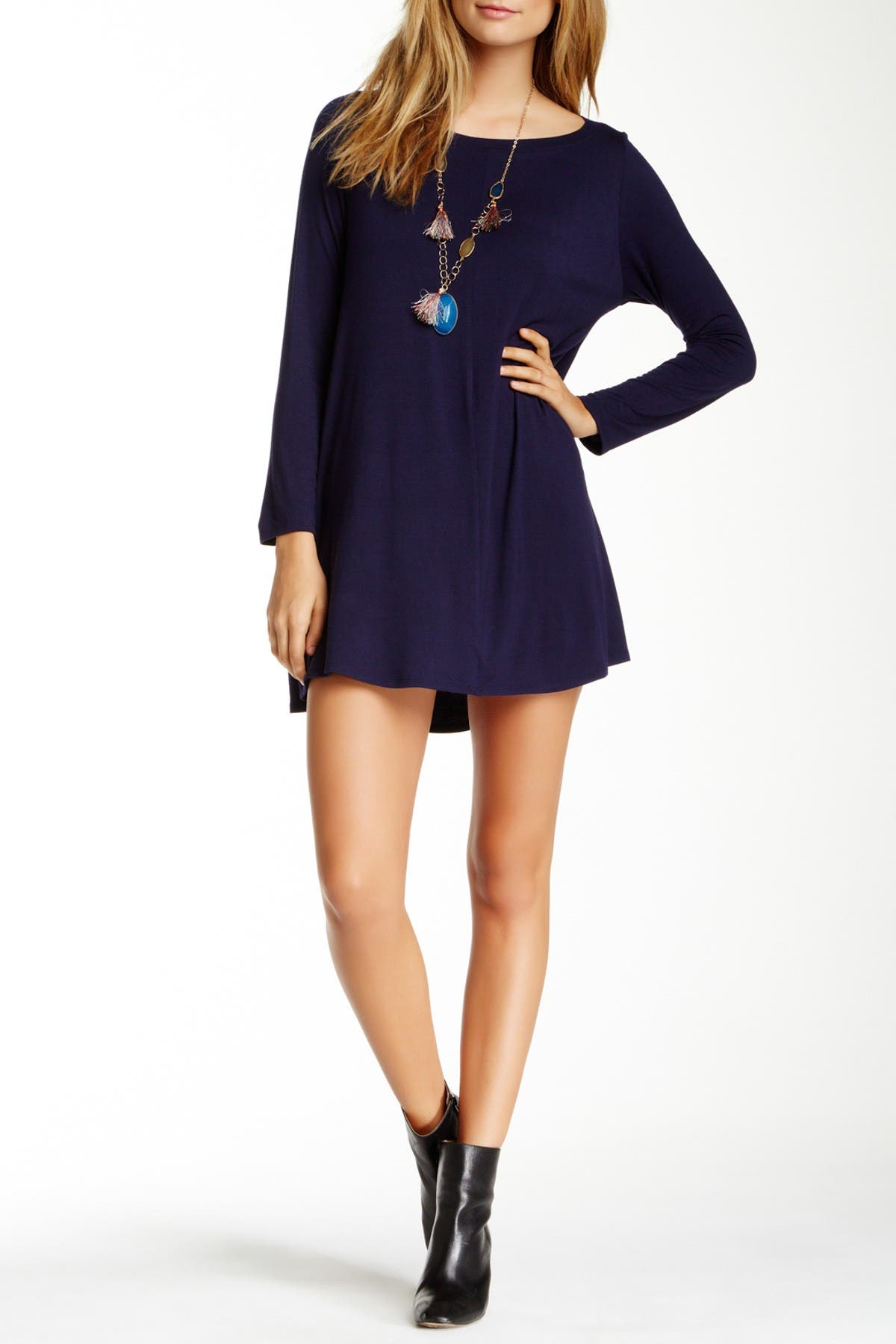 Image of Go Couture Long Sleeve Boat Neck Dress