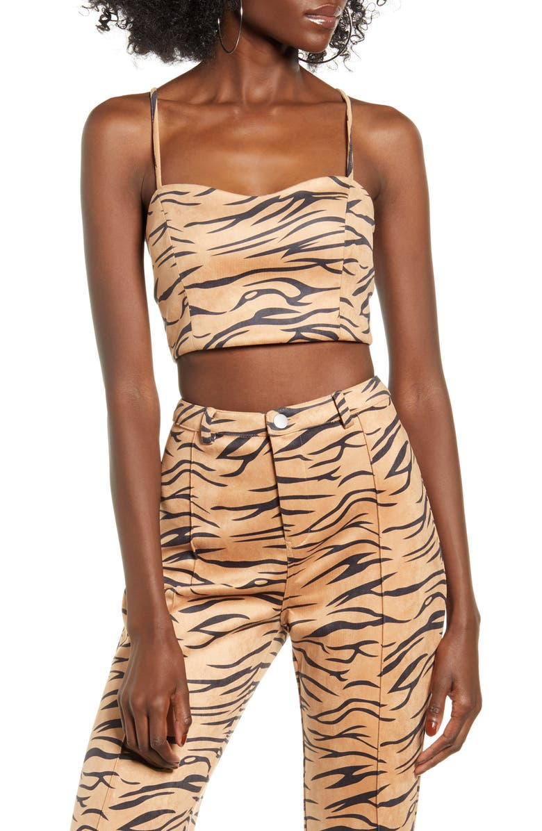 TIGER MIST Indrah Sleeveless Crop Top, Main, color, ZEBRA