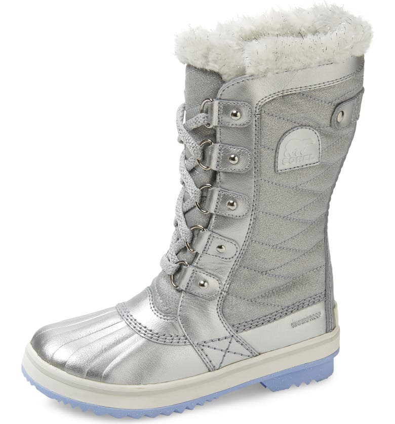 SOREL x Disney 'Frozen' Tofino II Faux Fur Lined Waterproof Boot, Main, color, PURE SILVER
