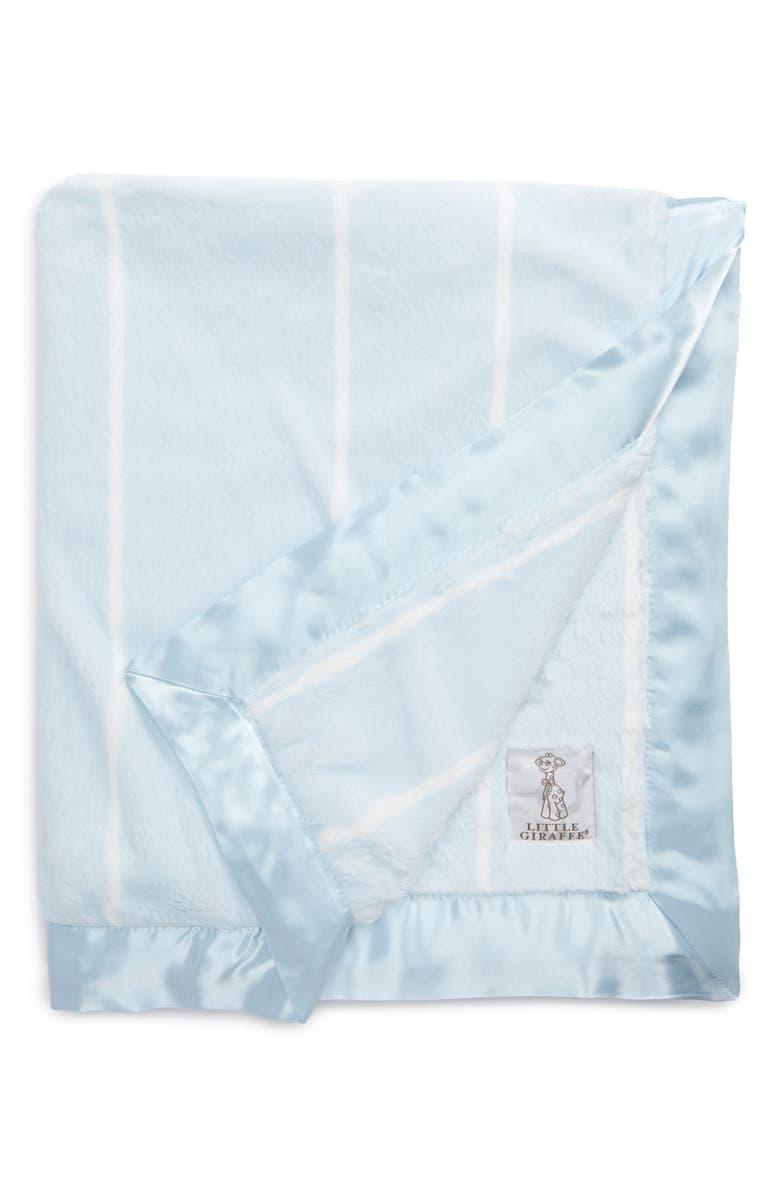 LITTLE GIRAFFE Pinstripe Luxe Blanket, Main, color, BLUE