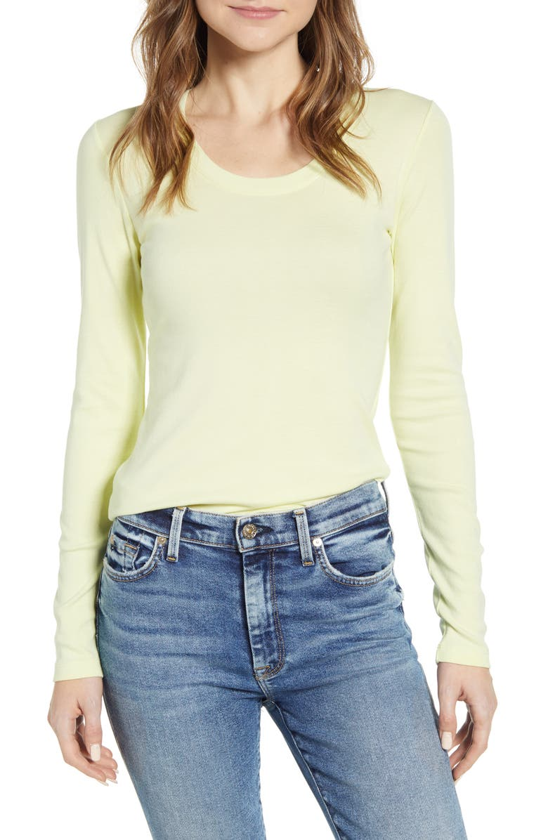 CASLON<SUP>®</SUP> 'Melody' Long Sleeve Scoop Neck Tee, Main, color, 333