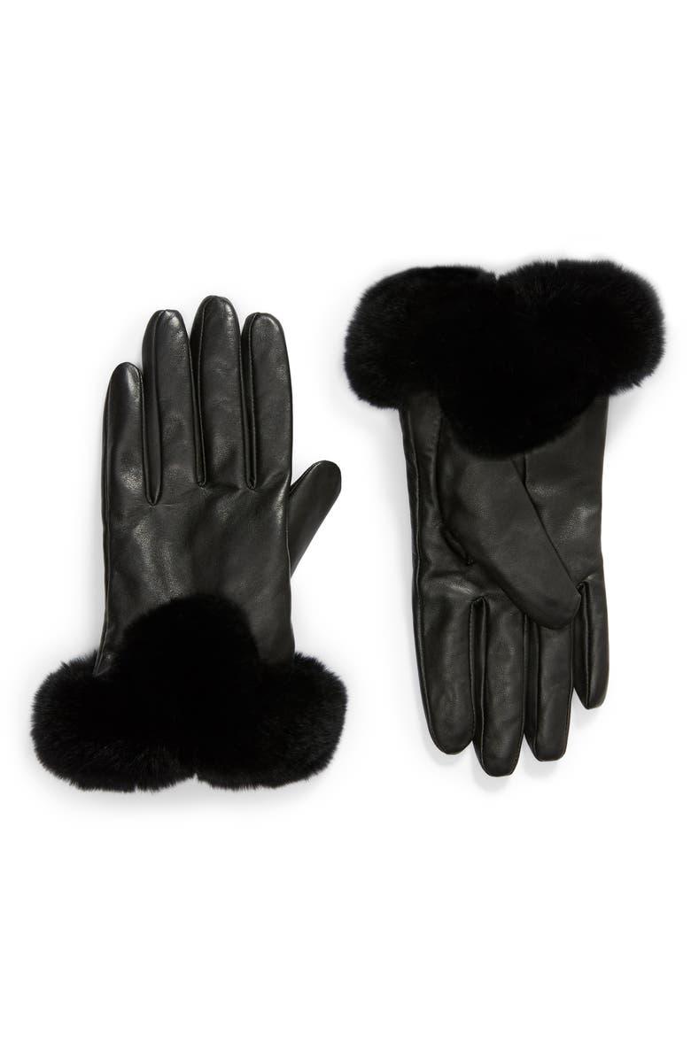 LA FIORENTINA Leather Gloves with Genuine Rex Rabbit Fur Trim, Main, color, BLACK