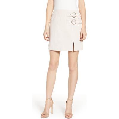 Blanknyc Suede Buckle Skirt, White