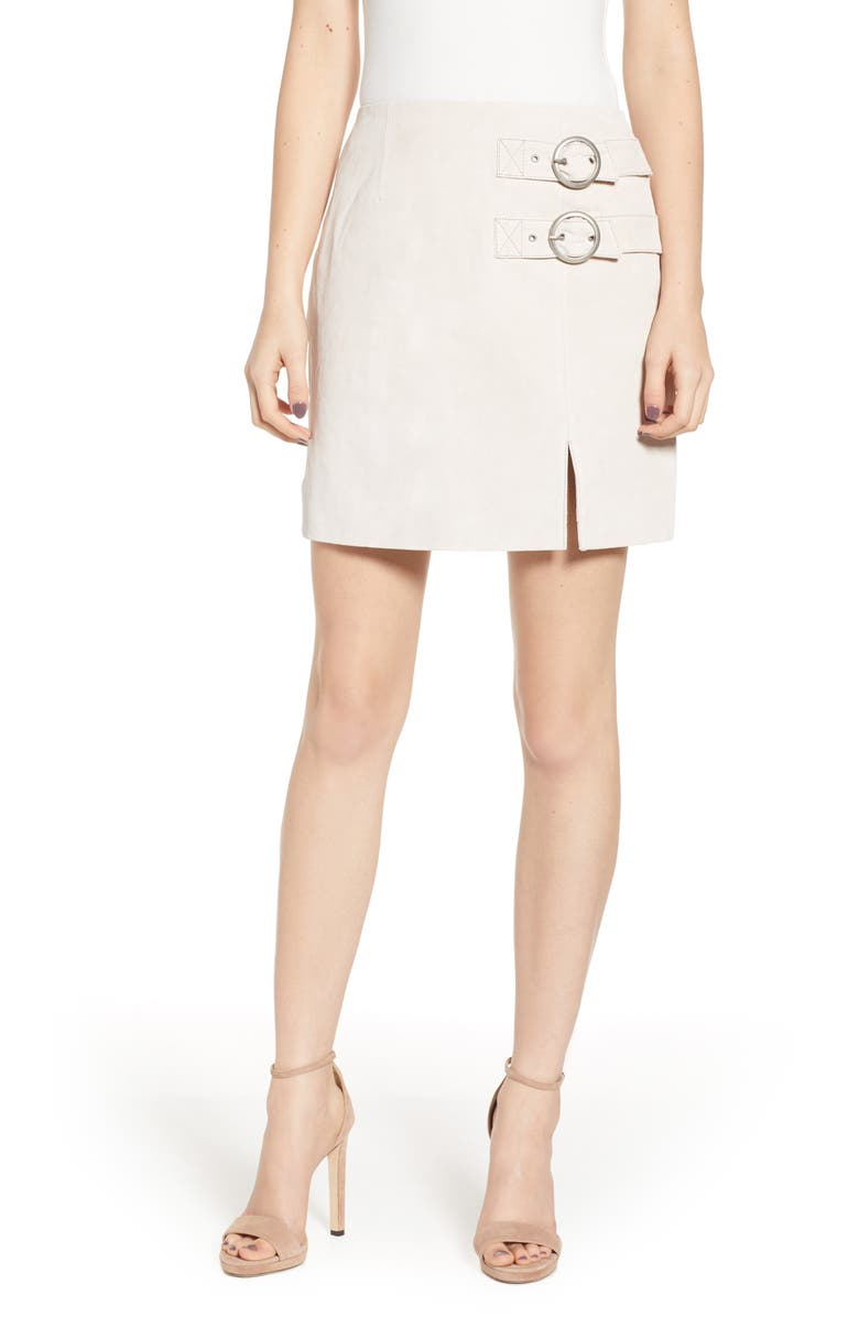 BLANKNYC Suede Buckle Skirt, Main, color, WHITE SAND