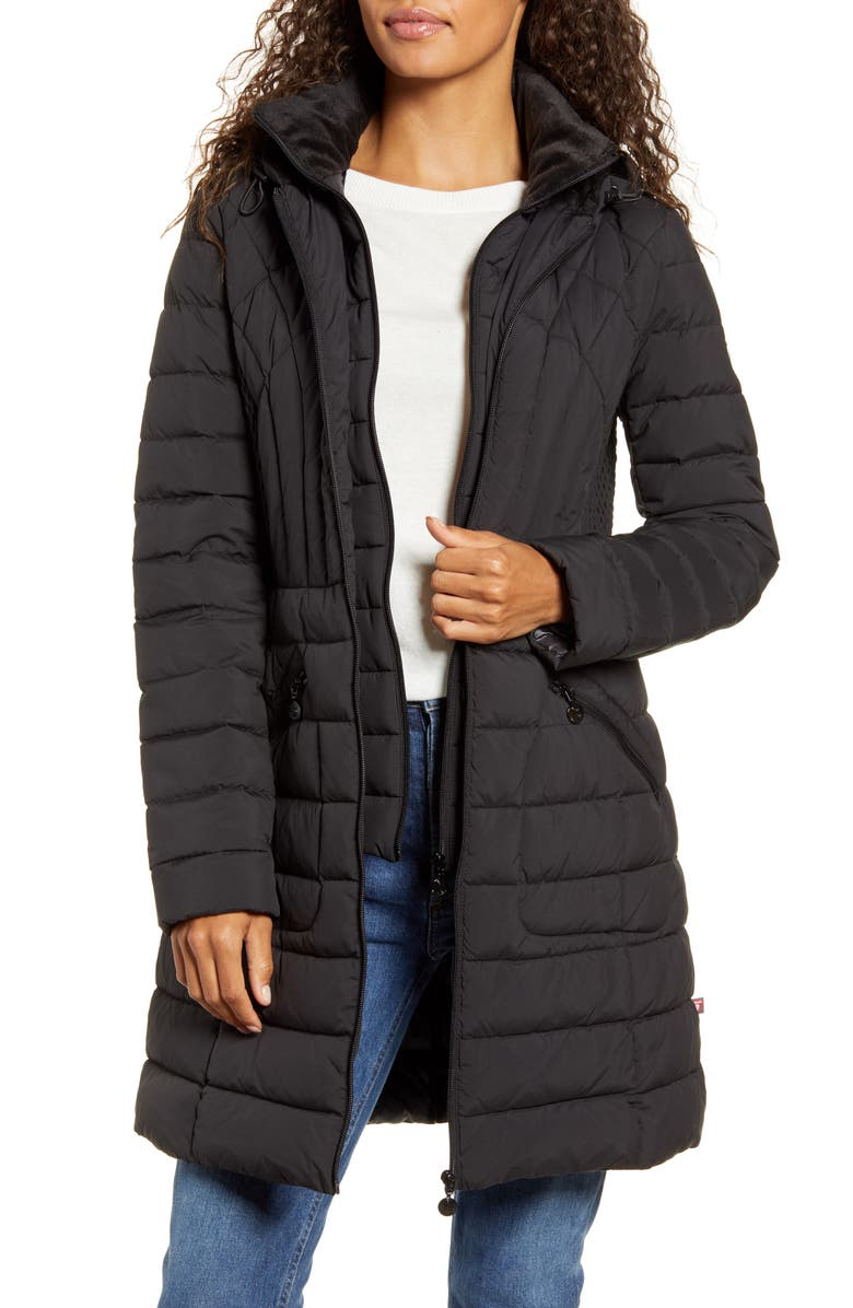 BERNARDO Down & PrimaLoft<sup>®</sup> Walker Jacket, Main, color, BLACK