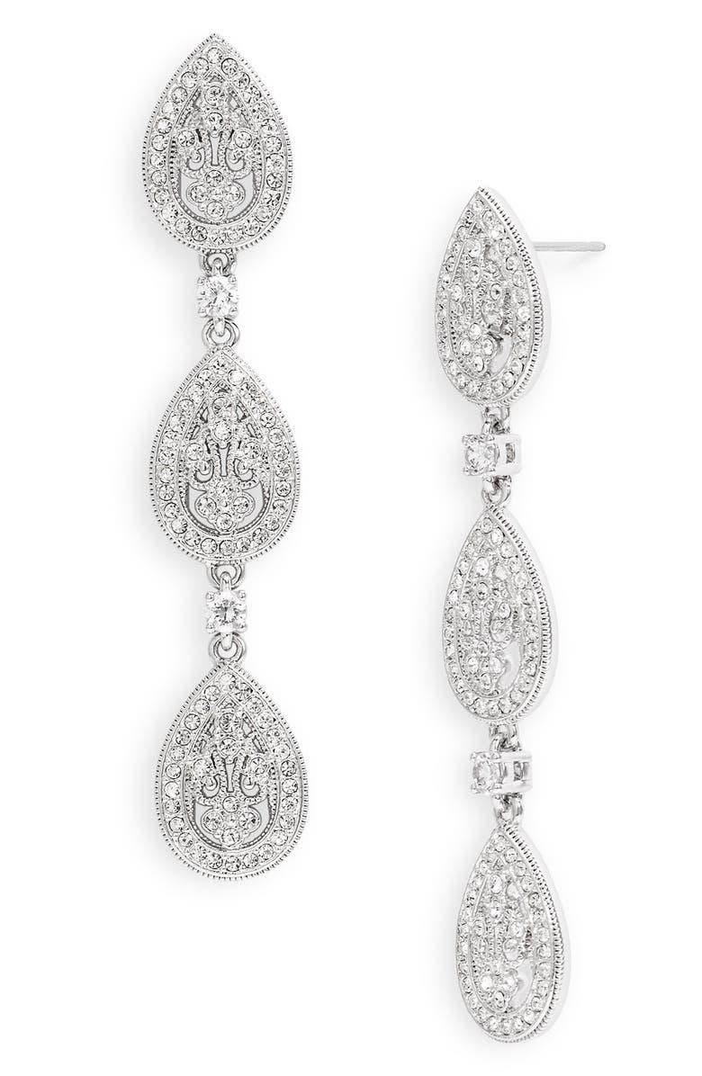NADRI Crystal Teardrop Linear Earrings, Main, color, 040