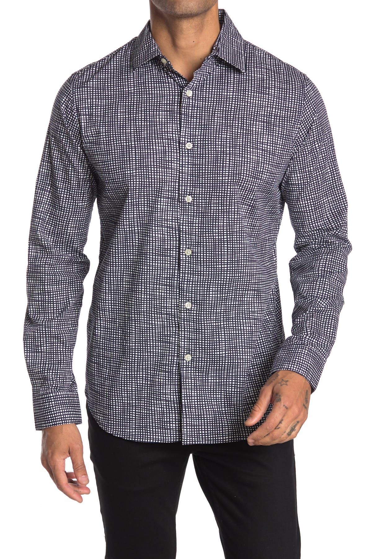 Image of DKNY Hand Drawn Check Print Stretch Dress Shirt