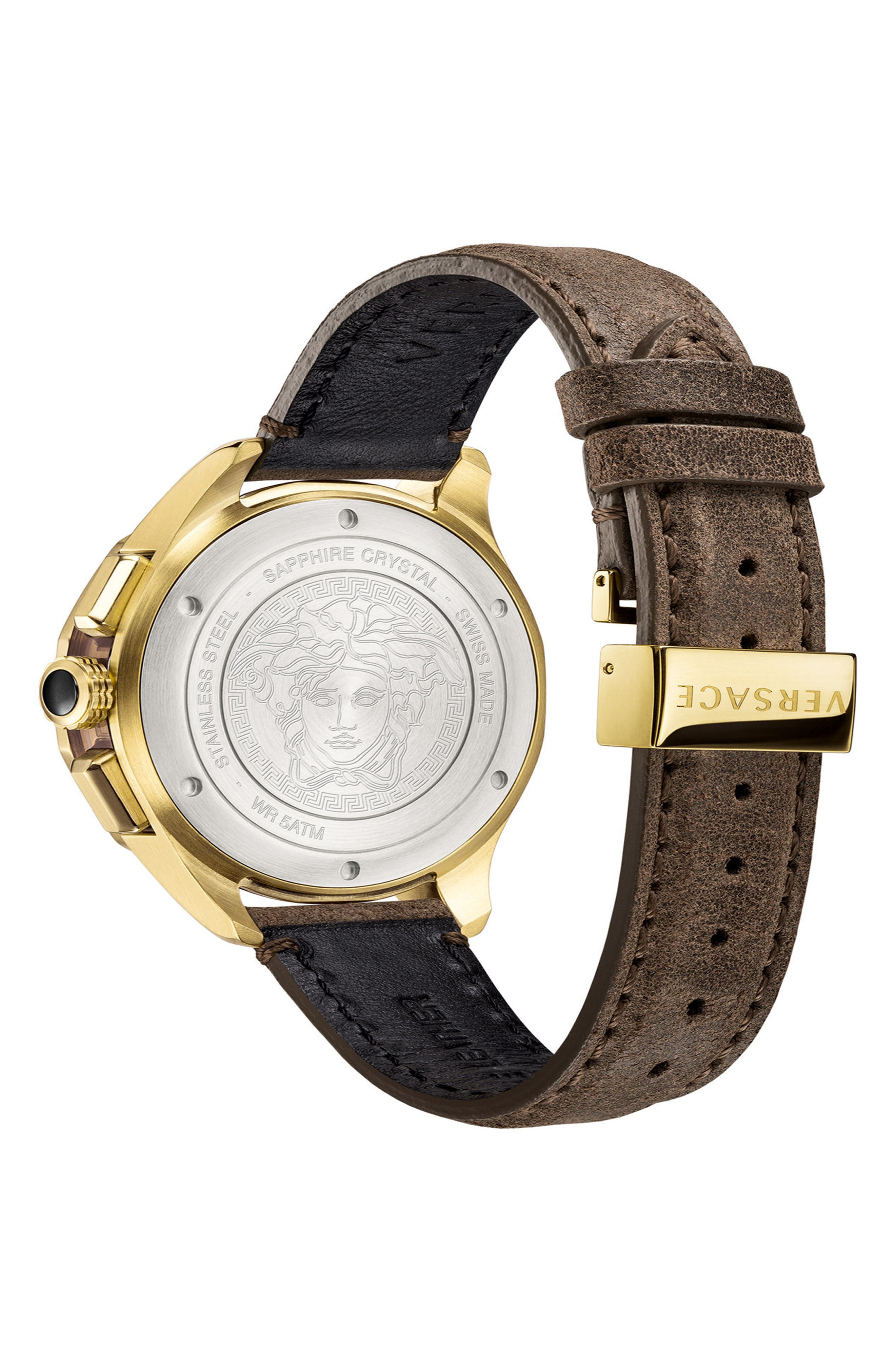,                             Glaze Chronograph Leather Strap Watch, 44mm,                             Alternate thumbnail 2, color,                             BROWN/ SILVER/ GOLD