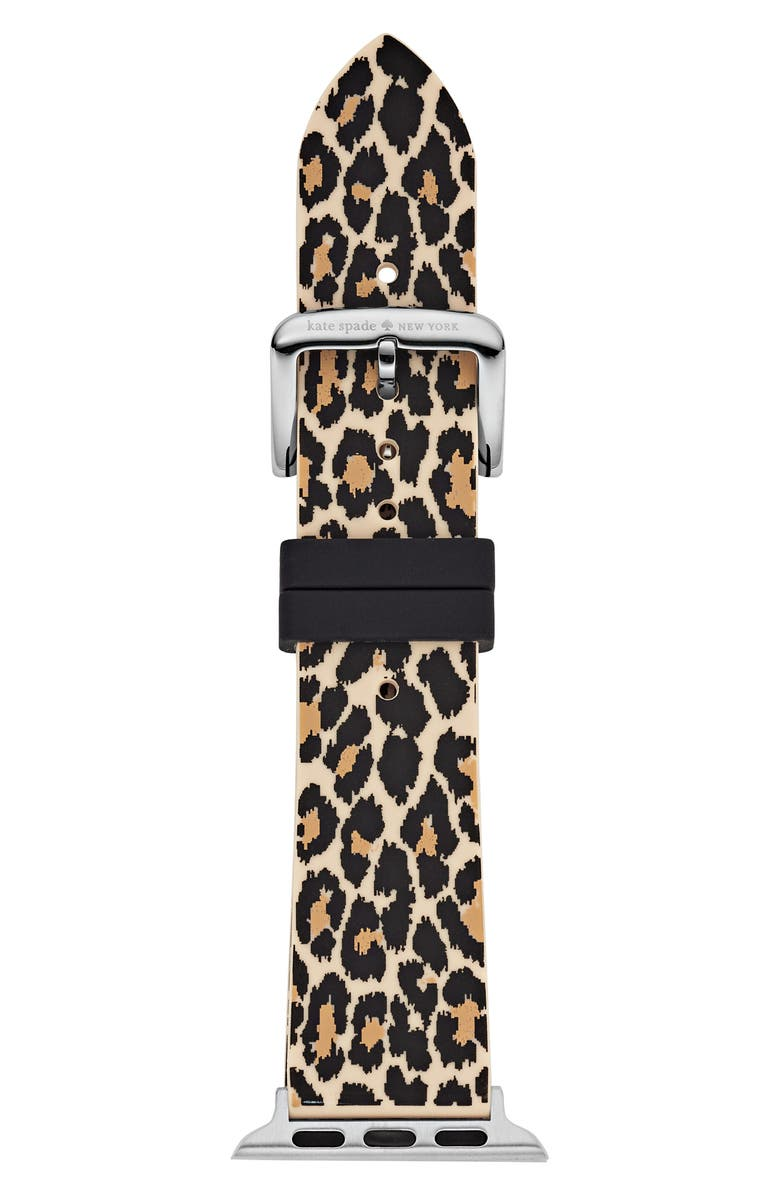 KATE SPADE NEW YORK Apple Watch<sup>®</sup> strap, 38mm, Main, color, BLACK/ LEOPARD