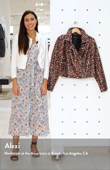 Leopard Print Faux Leather Crop Moto Jacket, sales video thumbnail