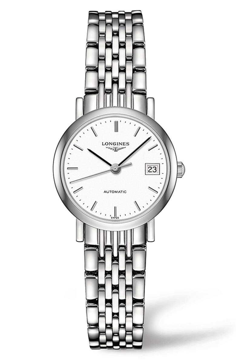LONGINES Elegant Automatic Bracelet Watch, 25.5mm, Main, color, SILVER/ WHITE/ SILVER
