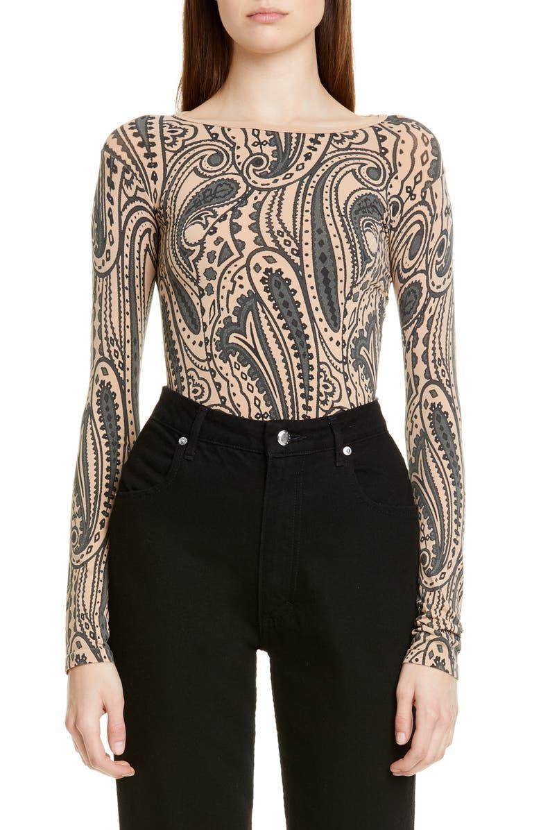 JUNYA WATANABE Tattoo Paisley Print Top, Main, color, 250