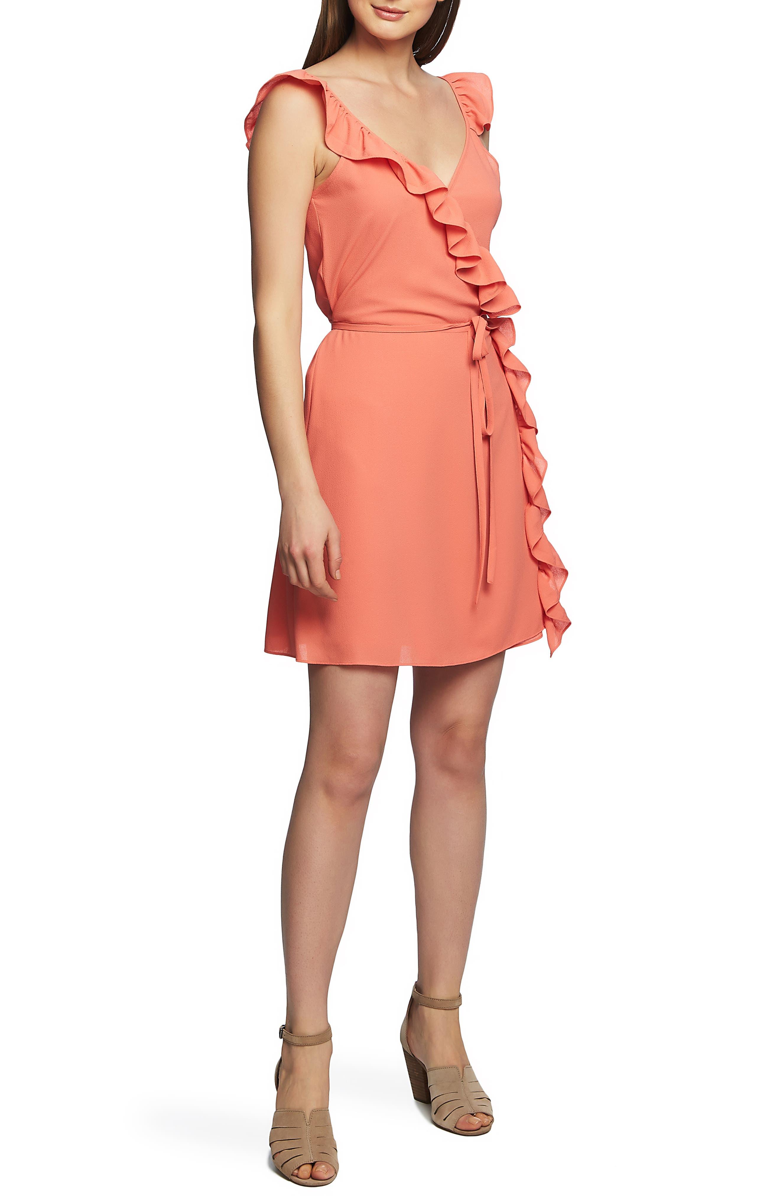 1.state Ruffle Trim Wrap Dress, Coral